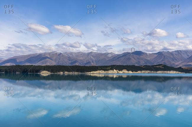 New Zealand- Oceania- South Island- Canterbury- Ben Ohau- Clouds over Lake Pukaki and Southern Alps (New Zealand Alps)
