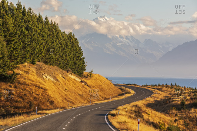 New Zealand- New Zealand State Highway 80 with Mount Cook in background