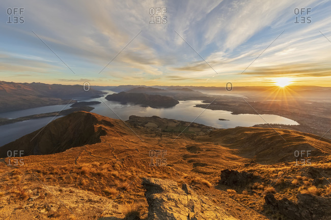 Lake Wanaka during sunrise- view from Roys Peak- South Island- New Zealand