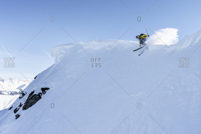 Skier- downhill skiing- Grisons- Switzerland