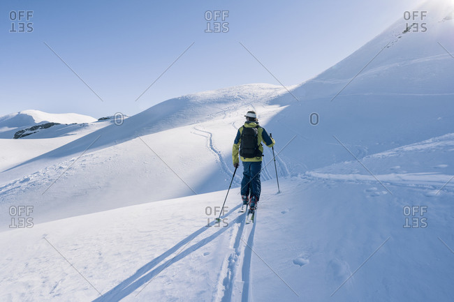 Man on ski tour- Grisons- Switzerland