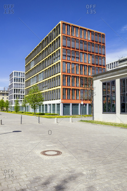 Germany- Bavaria- Munich- Office buildings in Theresienpark