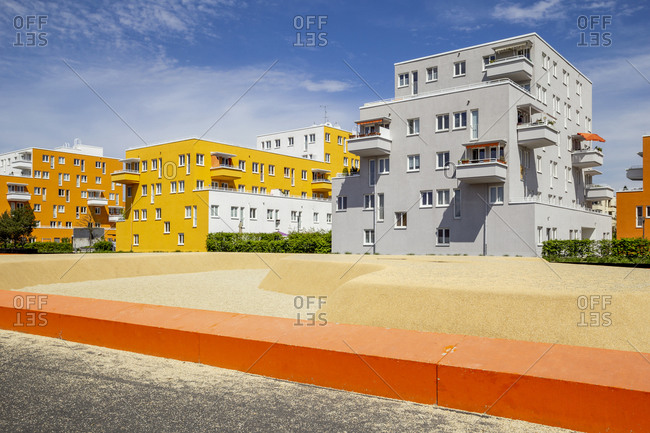 Germany- Bavaria- Munich- Sandy playground in front of residential buildings