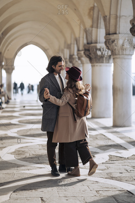 Affectionate young couple in the city of Venice- Italy