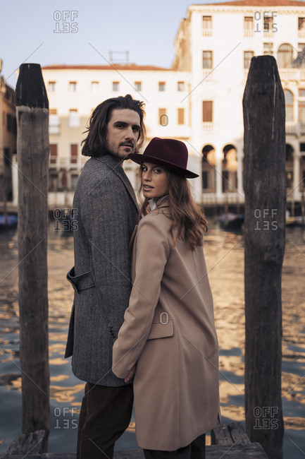Portrait of young couple at the Canal Grande in Venice- Italy