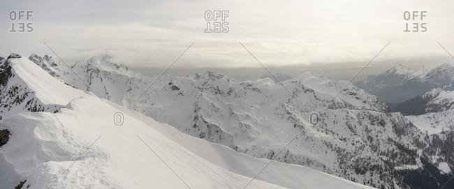 Panorama of high snowy mountain ridges- Lombardy- Valtellina- Italy