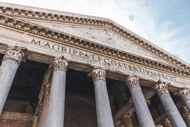 Italy- Rome- Low angle view of Pantheon colonnade