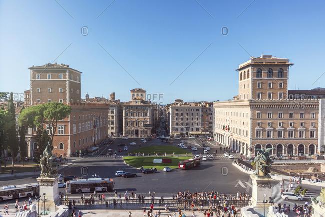 September 26, 2019: Italy- Rome- Clear sky over Piazza Venezia and Palazzo Bonaparte