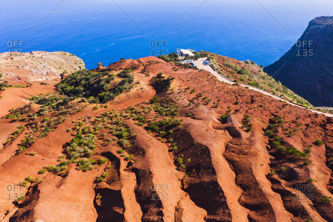 Spain- Canary Islands- Agulo- Aerial view of Mirador de Abrante observation point