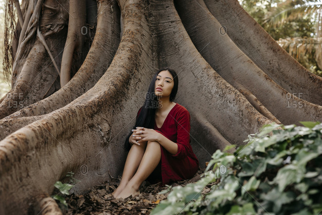 Beautiful young woman wearing a red dress sitting at a tree with large roots