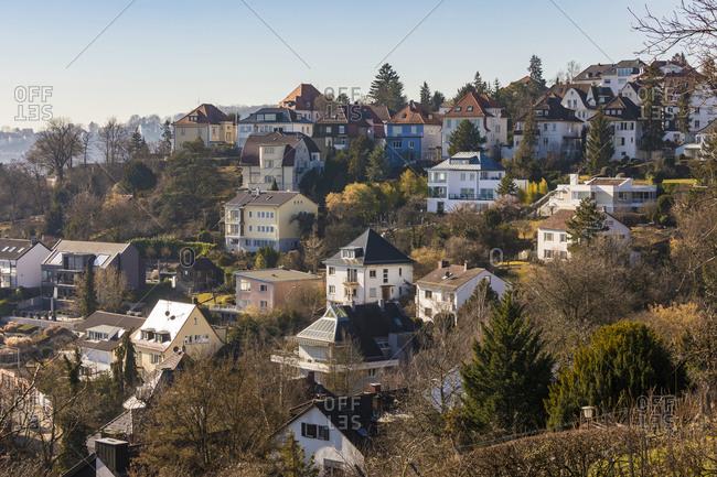 Germany- Baden-Wurttemberg- Stuttgart- Apartments and villas of hillside suburb