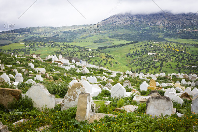 White marble headstones in a cemetry on the outskirts of Fes, Morocco