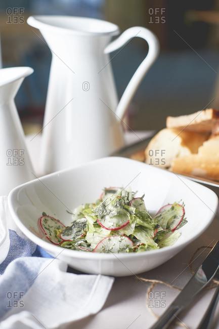 Fresh radish salad with mayonnaise