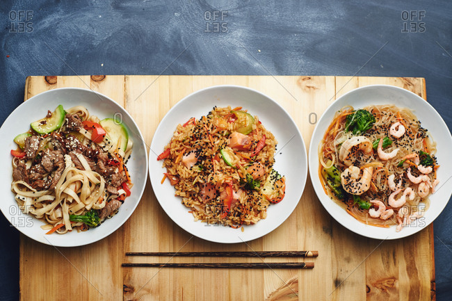 Asian pad Thai noodles with beef fried rice with egg and vegetables fried noodles with shrimp