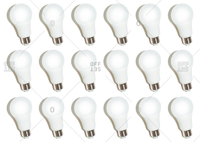 Incandescent light bulbs on a white background