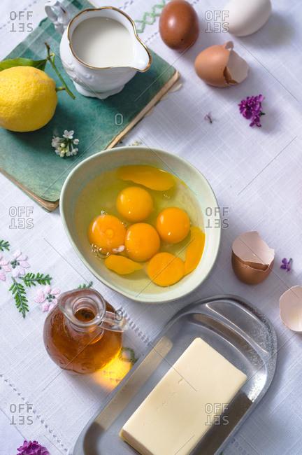 Ingredients for making sweet Easter bread