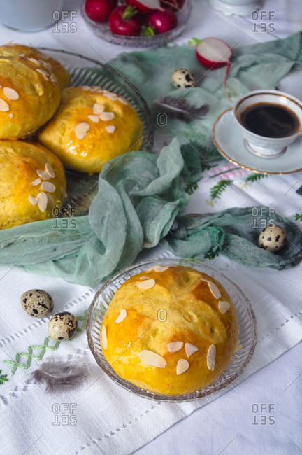 Freshly baked sweet Easter bread (pinca) on the table with coffee