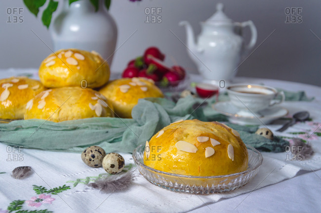 Freshly baked sweet Easter bread (pinca) on the table