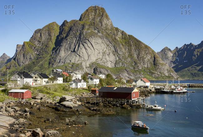 Fishing vllages on Reinefjorden, Andoya, Lofoten, Norway, Scandinavia, Europe