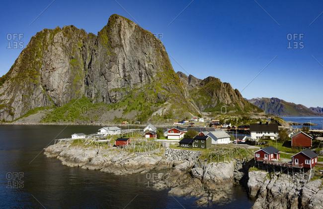 Fishing village on strandflat of Hamnoy, Reinefjorden Islands, Lofoten, Scandinavia, Norway, Europe