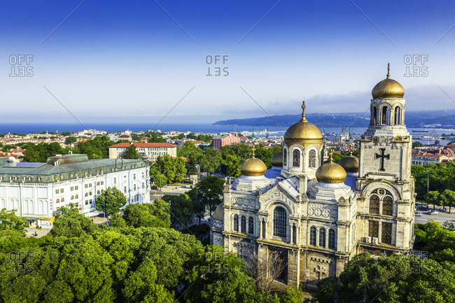 Aerial view by drone of Mother of God Cathedral, Varna, Bulgaria, Europe