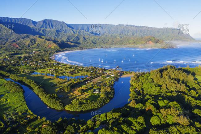 Aerial view by drone of Hanalei Bay, Kauai Island, Hawaii, United States of America, North America