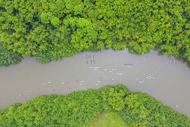 Drone view of kayakers on Wailua River, Kauai Island, Hawaii, United States of America, North America
