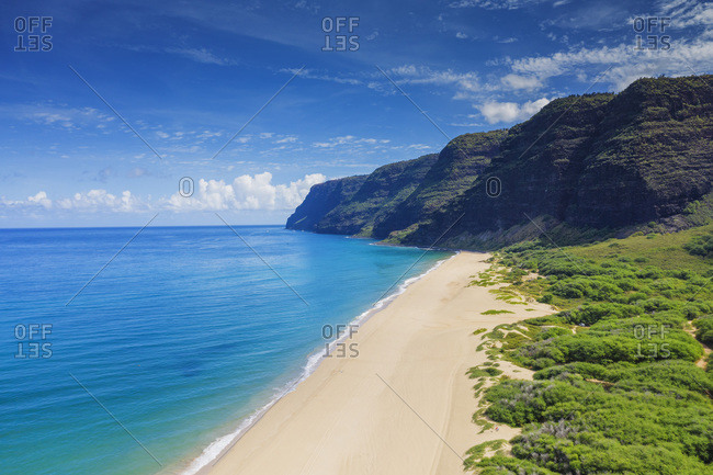 Aerial by drone of Polihale State Park beach, Kauai Island, Hawaii, United States of America, North America