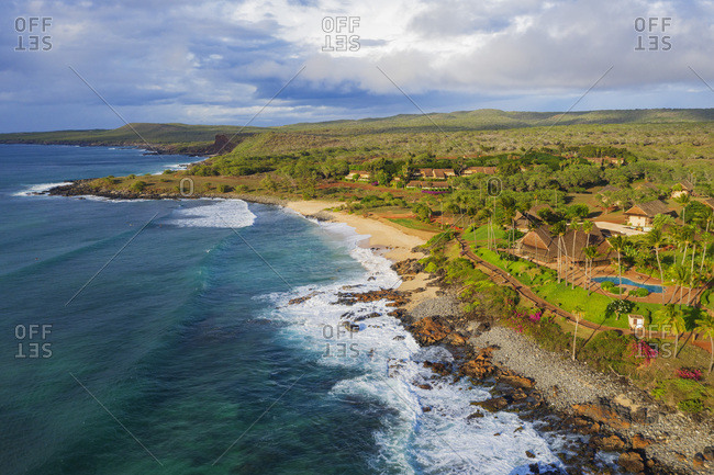 Aerial view by drone of Papohaku Beach, Molokai Island, Hawaii, United States of America, North America