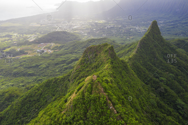 Aerial view by drone of Three Peaks trail, Oahu Island, Hawaii, United States of America, North America