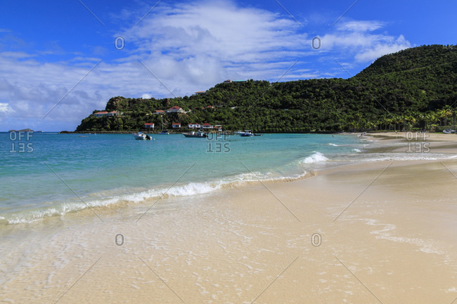 Beautiful turquoise sea and wooded hills, white sand St. Jean (Saint Jean) Beach, St. Barthelemy (St. Barts) (St. Barth), West Indies, Caribbean, Central America