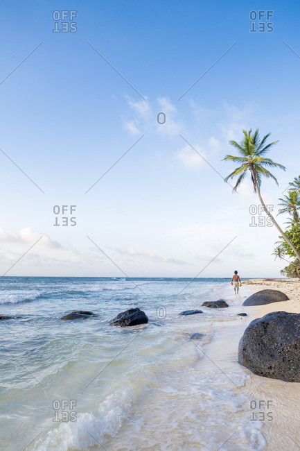 A local man carrying coconuts on North Beach, Little Corn Island, Islas del Maiz (Corn Islands), Nicaragua, Central America