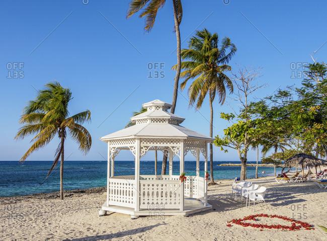 Gazebo at Guardalavaca Beach, Holguin Province, Cuba, West Indies, Caribbean, Central America
