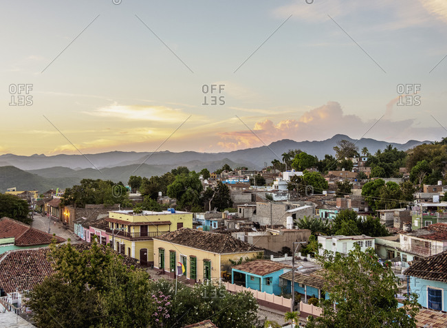 Townscape at sunset, elevated view, Trinidad, Sancti Spiritus Province, Cuba, West Indies, Caribbean, Central America