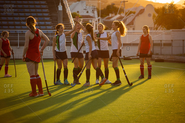 Side view of a team of female Caucasian field hockey players, during a field hockey game, celebrating a goal, with disappointed opponents standing around them, on a sunny day