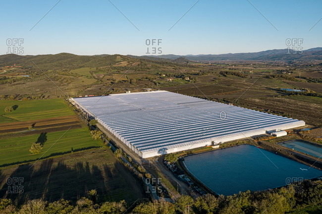 Aerial view over a hydroponic farm in Gavorrano, Tuscany, Italy
