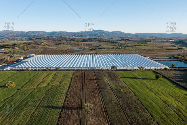 Bird's eye view over a hydroponic farm in Gavorrano, Tuscany, Italy