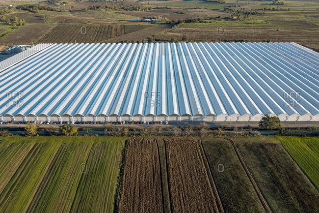 Aerial view of a greenhouse a hydroponic farm in Gavorrano, Tuscany, Italy