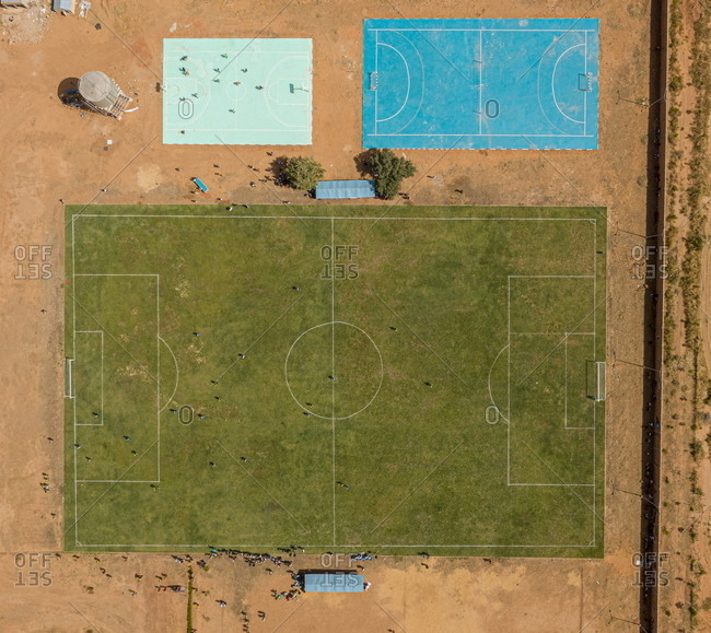 Aerial view of Libyan refugees playing football at a refugee camp in Hamdallaye, Niger