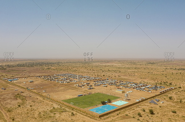 Aerial view of a refugee camp in Hamdallaye, Niger