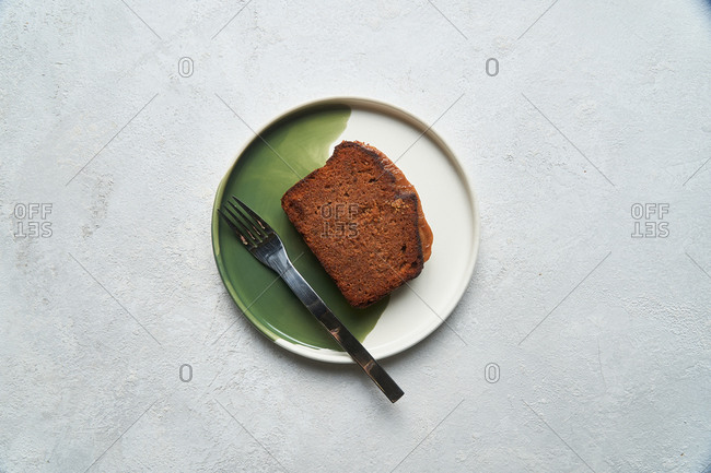 Overhead view of a slice of a loaf cake
