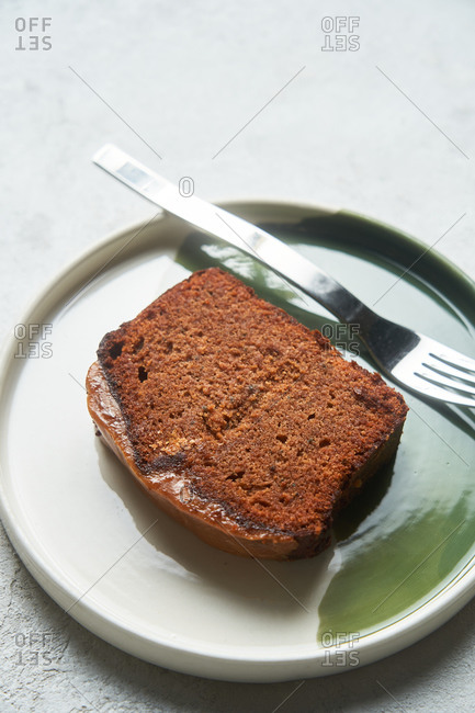 Close up of a slice of a loaf cake