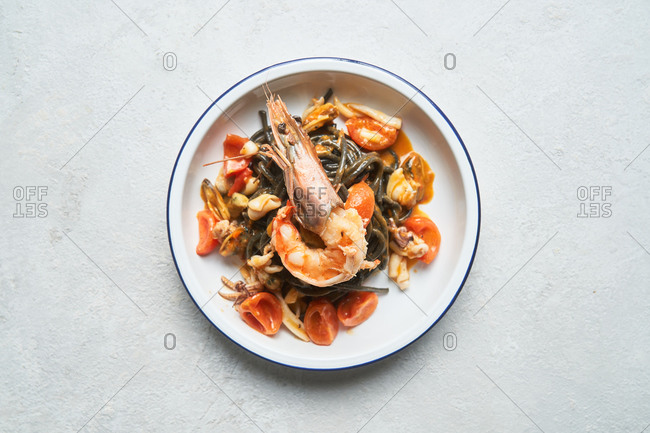 Overhead view of a seafood pasta dish