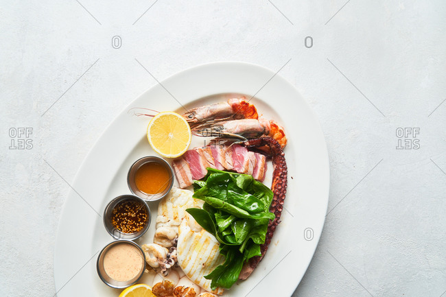 Top view of a seafood platter