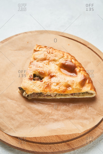 Slice of a stuffed flatbread