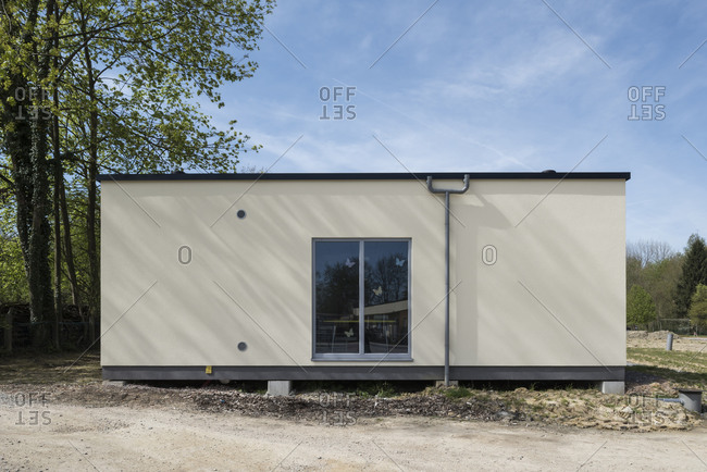 Exterior of a small modern container building
