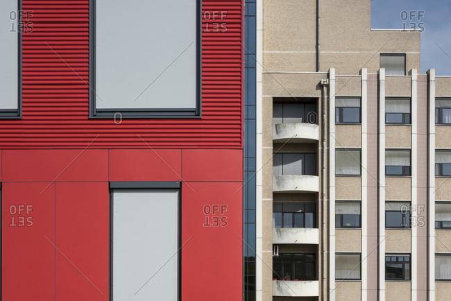Red building exterior in Tongeren, Belgium