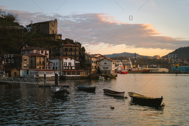 January 31, 2020: View of the small village Pasajes San Juan in Basque Country during sunset