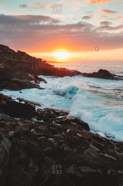 Beautiful sunset on Jaizkibel wild coast
