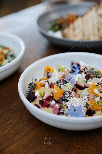 Beet salad served in a restaurant